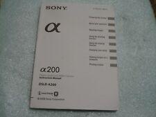 Sony A100 A200 A300 A350 A230 A33 A55 Digital DSLR Camera User Manual Englsih
