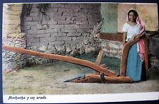 MEXICO ~ 1900's Muchacha y un arado ~ Mexican Girl with PLOW ~ Planting Seeds