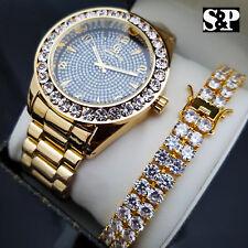 MEN'S HIP HOP CELEBRITY STYLE LUXURY WATCH & 2 ROWS DIAMONDS BRACELET GIFT SET
