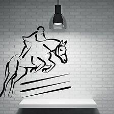 Wall Sticker Vinyl Decal Horserase Jockey Jump Over the Barrier (n147)