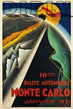 PLAQUE ALU DECO AFFICHE RALLYE AUTOMOBILE MONTE CARLO JANVIER 1931 COURSE