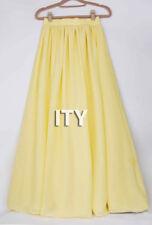 Yellow Double Layer Women Chiffon Retro Long Maxi Dress Elastic Waist Skirt