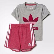 Adidas Originals Infant Girls Trefoil Shorts Set Tee & Shorts Full Set Baby Kids