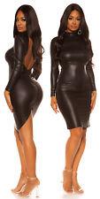 KouCla Black Wet Leather Look Bodycon Dress 8 10 12 S M L Open Back Bodycon