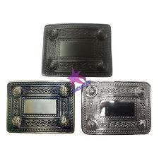 CC Scottish Kilt Belt Buckle 4 Dome Mirror Design Antique/Chrome & Black Finish