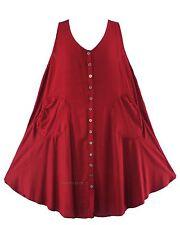 Maroon Women Lagenlook Plus Size Sleeveless Vest Tunic Top 16 18 0X 1X