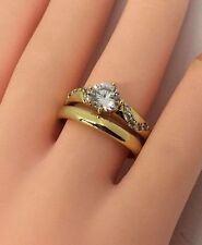 14k gold Overlay Cubic Zirconia Bridal Engagement Wedding Ring Set LY03