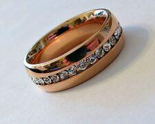 "7mm ""ROSE GOLD"" Stainless Steel Eternity CZ Men's & Women's Wedding Band Ring"