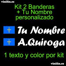 Pegatina Vinilo Bandera Asturias + Nombre Personalizado