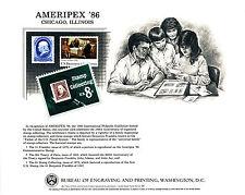 B90 Ameripex 86 BEP Souvenir Card 1c Franklin 1870 (134), plus 1474 & 2052 Mint