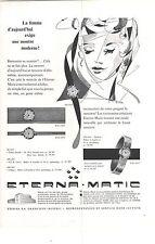 PUBLICITE ADVERTISING  1958   ETERNA MATIC  montre moderne