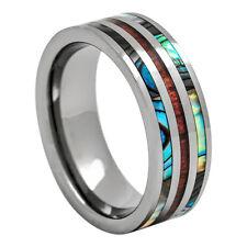 Mens Women's Tungsten Wedding Ring Hawaiian Koa Wood and Abalone Inlay 8mm 6-15