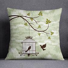 S4Sassy Bird Cage impression menthe Throw Pillow coussin carré décoratif-Etui