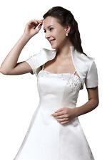 HBH Brautmoden Bolero Jacke aus Satin mit Kragen und kurzen Ärmeln weiß u. Ivory