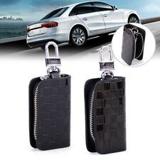 Genuine Leather Car Remote Smart Key Chain Cover Holder Case Bag Auto Zipper