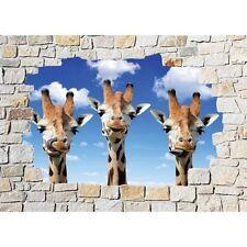 Stickers mural trompe l'oeil pierre déco Girafes 8512