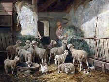 Feeding Time C. Jacque sheep chicken Tile Mural Wall Backsplash Marble Ceramic