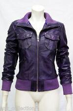 Portland Purple Ladies Woman Bomber Washed Real Sheep Lamb Nappa Leather Jacket