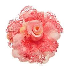 Bague tons ROSE Grande Fleur tissu dentelle réglable Taille 56 58 60 62 64 66