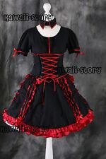 m-543 S / M/L/XL/XXL Negro Rojo Lolita Gótica cosplay disfraz vestido