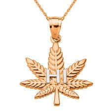 "14k Rose Gold Marijuana Pot Weed Cannabis Leaf ""HI"" Script Pendant Necklace"