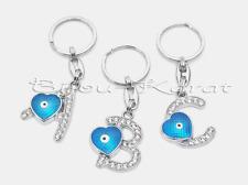 LUXUS Strass Buchstaben Schlüsselanhänger Nazar Türkisches Blaues Auge Blue Eye
