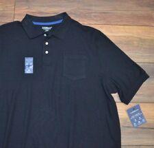 Croft & Barrow True Comfort Pique Polo Wicking UPF 15+ No Roll Collar Black