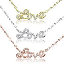 Love Finto Pavé di Diamanti Oro, Oro Rosa o Argento Sterling Collana
