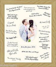 Medium 30.5x40.6cm Marriage Célébration Livre D'OR SIGNATURES tableau chêne