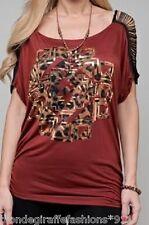 Rust Brown Fringe Split Short Sleeve Metallic Embellished & Leopard Print S/M/L