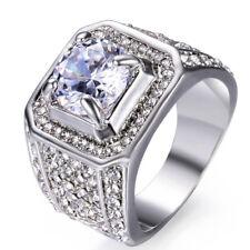 18mm Men's Luxury White Sapphire Wedding CZ Band White Gold Filled Ring Sz 8-13