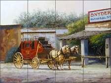 Ceramic Tile Mural Kitchen Backsplash White Western Stagecoach Art Jwa027