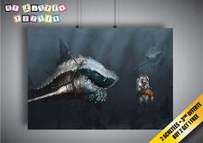 Poster Requin Blessé qui chasse l'homme BD