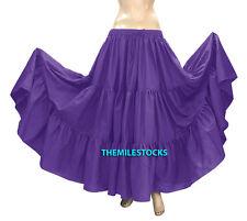 Light Purple - TMS Cotton 10 Yard 3 Tiered Skirt Belly Dance Gypsy Flamenco 33