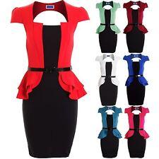 Women's Cap Sleeve Jacket Square Neck Peplum Ladies Belted Black Skirt Dress