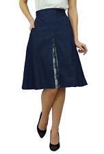 a-Linie Denim blauer Rock mit Taschen & Spitze deatil seitlichem Reißverschluss