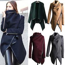 Women Trench Slim Collar Winter Waterfall Coat Long Wool Jacket Outwear Top CA-6