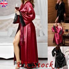 Lace Womens Sexy Sleepwear Long Bride Kimono Robe Satin Silk Night Dressing Gown
