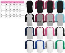 3/4 Sleeve Plain T-Shirt Baseball Tee Raglan Jersey Sports Men's Tee