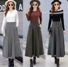 Women Woolen Skirt Plaid Long High Waist Winter Thick A-line Skirts Loose Casual