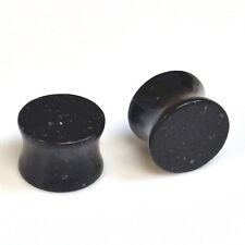 Double Flare Black Obsidian Stone Ear Gauges, Body Piercing Jewelry BDJ0052