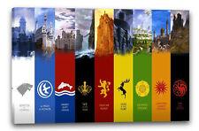 Lein-Wand-Bild: Game of Thrones Wappen neun verschiedene Häuser mit Bild