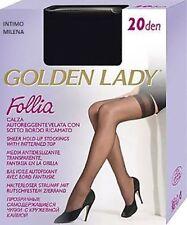 10 PAIA AUTOREGGENTE CLASSICA GOLDEN LADY FOLLIA 20 DEN CON SOTTO BORDO RICAMATO