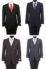 Men's 3 Piece Solid Notch Lapel Flat Front Pants Groom Slim Fitted Vested Suit