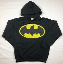 """Batman """"Bat Logo"""" Pull Over Hoodie Official Adult Mens Black New S,L"""