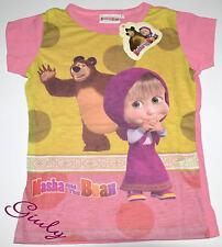Maglietta MASHA e ORSO da 2 a 7 anni maglia bambina t-shirt bimba cartoni rosa