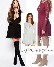 NWT $128 Free People Teen Witch Lace Cutout Dress Black, Plumeria, Foam Green
