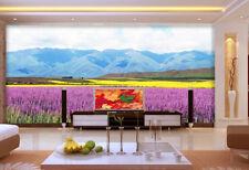 Papel Pintado Mural De Vellón Campo De Flores Montañas 23 Paisaje Fondo Pantalla