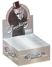 1 Box Smoking MASTER Slim King Size Papers 50 Heftchen x 33 Blättchen Silver