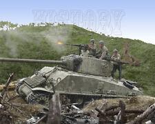 Sherman Tank firing 50 Cal Korea US Army color photo - I10021